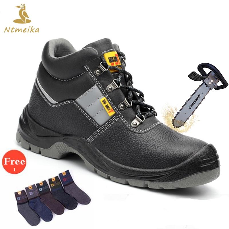 Plus Size 36-46 Genuine Leather Work Safety Shoes Men Steel Toecap Steel Insole Waterproof Dustproof Anti-static Safety Boots цены онлайн