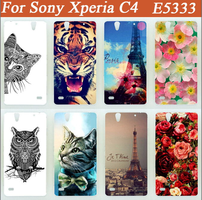 14 patterns colored Hard pc Case for <font><b>Sony</b></font> <font><b>Xperia</b></font> C4 Dual <font><b>E5333</b></font> E5303 E5306 E5353 E5343 painted tiger lion owl flowers Case image