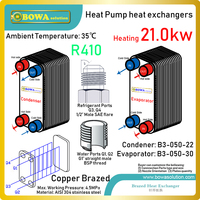 18000kcal R410a PHEs is great choice for 6P 3 in 1 heat pump air conditioners to get hot water, cooling and heating in townhouse