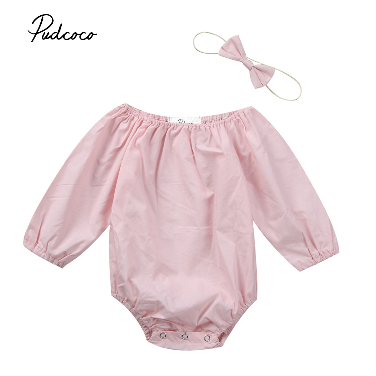Pudcoco Newborn Infant Baby Girls Romper Solid Long Sleeve Loose Jumpsuit Handband Cotton Winter Clothes Playsuit One-Piece pudcoco newborn infant baby girls clothes short sleeve floral romper headband summer cute cotton one piece clothes