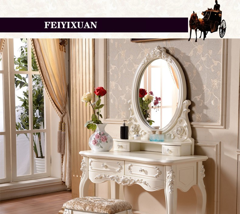 US $580.0 |European mirror table modern bedroom dresser French furniture  white french dressing table o1180-in Dressers from Furniture on ...