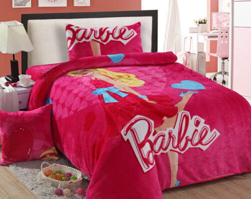Supper Warm Fast Shipping Girls Twin Bedding Princess Barbie Bedding Pink  Comforter Set Twin Full Bedding