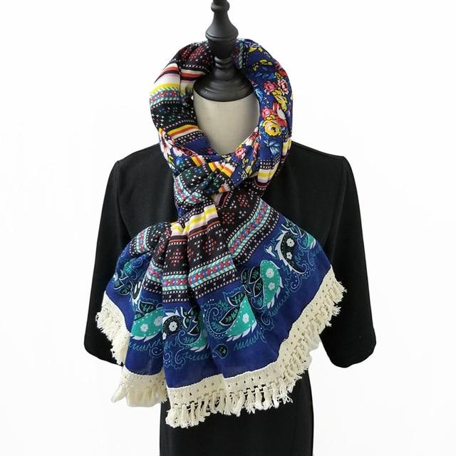 Femmes Foulard Ethnique Paisley Floral Hijab Coton Couverture Écharpe  Vintage Foulard Grande châles et enveloppements Marque 071b2d1a8ff
