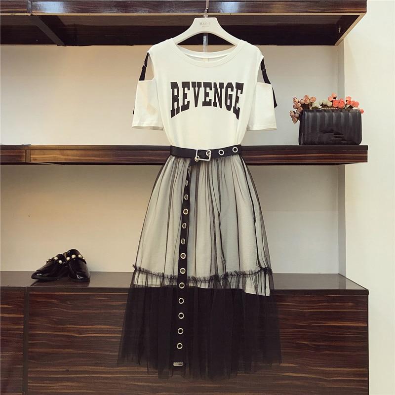 2 Piece set 2018 Summer Women's Cotton Long Strapless T-shirt +Mesh See Through Skirt Sets Women Fashion Holes Belt Skirts Suits(China)