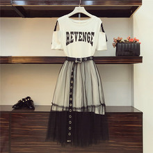 2 Piece set 2020 Summer Womens Cotton Long Strapless T shirt +Mesh See Through Skirt Sets Women Fashion Holes Belt Skirts Suits