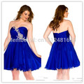 New Mini Length Party Gown Sexy Blue Sweetheart Rhinestone Beaded Corset Zipper Short Plus Size Cocktail Dresses
