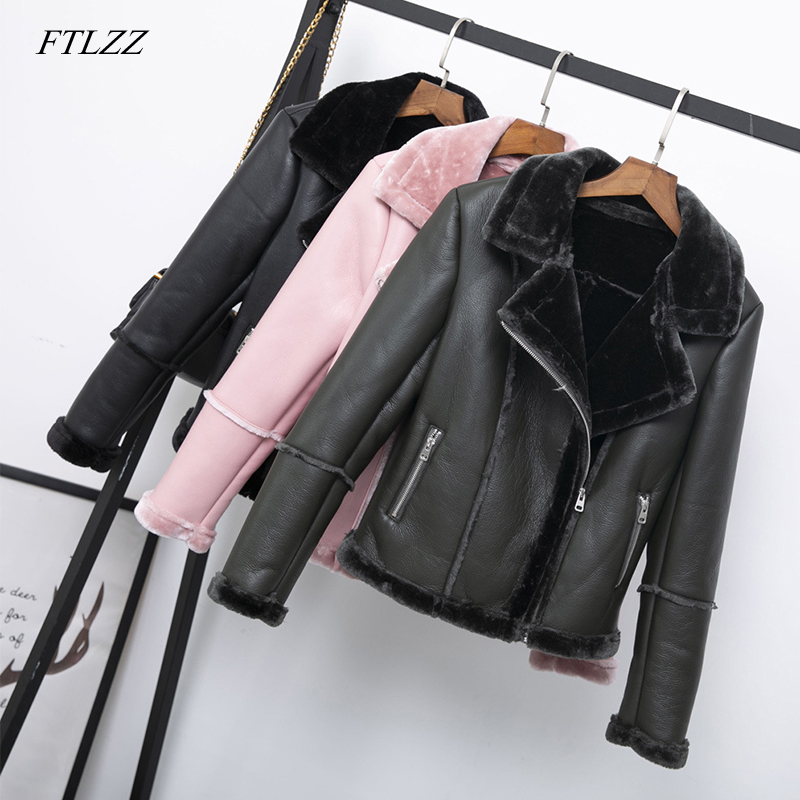 FTLZZ Women Faux Shearling Sheepskin Coats Winter Thick Warm Pu Faux Lamb   Leather   Jacket Black Motorcycle Female Overcoat