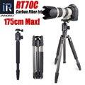 RT70C Fibra De Carbono tripé monopé para dslr camera digital lente telefoto profissional heavy duty stand tripode Altura Máxima 175 cm