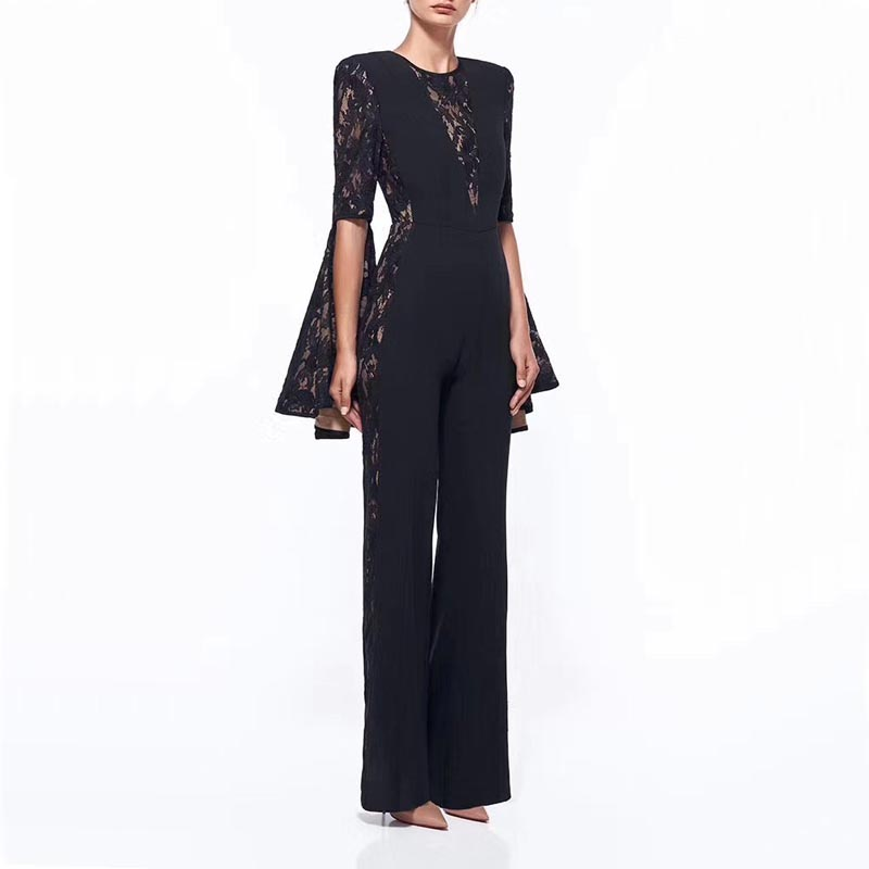 wholesale new Jumpsuits black Long sleeves Lace Fashionable leisure celebrity celebrity bandage Rompers(H1975)