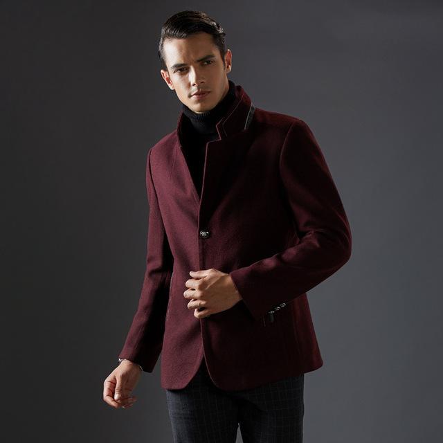 Grosso Curto Estande Colarinho de Lã Casaco de Inverno Dos Homens Clássico Elegante Casaco Homens Jaqueta de Inverno