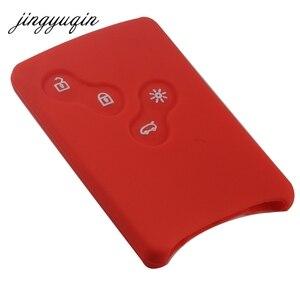 Image 5 - Funda protectora jingyuqin de 4 botones de silicona para llave de coche para Renault Clio Logan Megane 2 3 Koleos Scenic Card llavero