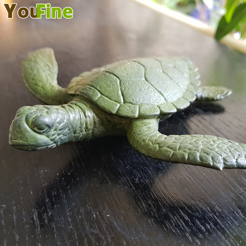 Bronze marine animal sea turtle child solid simulation marine life model toy small size home interior decoration in Statues Sculptures from Home Garden
