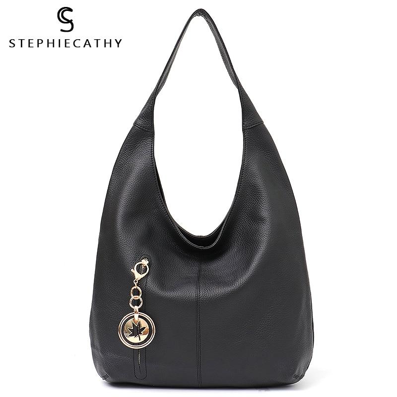 SC Fashion Women s Handbags Tote Ladies Genuine Leather Bag Luxury Brand Cowhide Hobo Shoulder Bag
