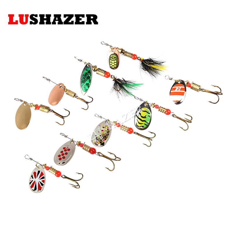 LUSHAZER Fishing spinner bait 2.5-4.5g spoon lure metal baits treble hook isca artificial fish wobbler feeder carp spinnerbait 4pcs fishing wobblers lures spinners metal spoon bait wobbler lure artificial bass baits peche tackle kit carp spinnerbait 5cm