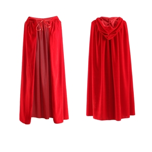 Image 3 - Adult Hooded Cloak Long Velvet Cape Robe Green Black Red Halloween Carnival Purim Coats Medieval Witch Wicca Vampire Costume