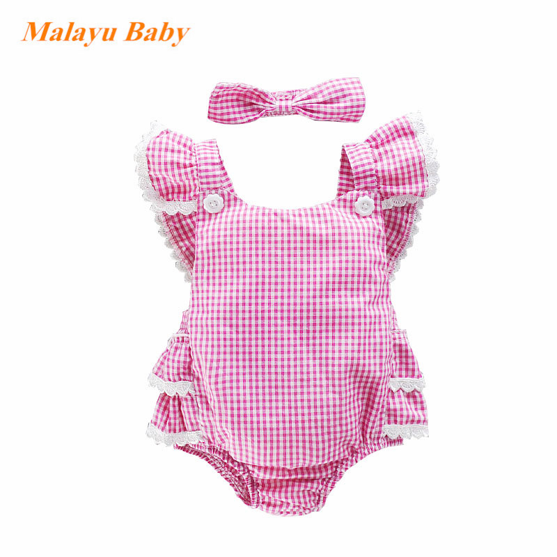 Malayu Baby summer new red little plaid newborn baby girl clothes (lace sleeve triangle pants jumper + hood) two-piece suit