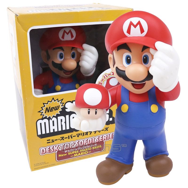 Super Mario Bros Марио с Жаба гриб фигурку Коллекционная модель игрушки для детей Игрушечные лошадки Рождество подарки на день рождения 30 см