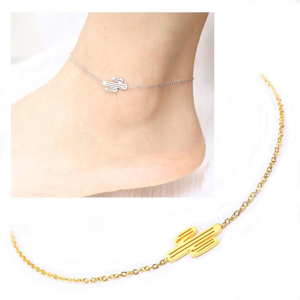 Kaktus naturalny styl kobiet obrączki ze stali nierdzewnej sandały stóp biżuteria na kostki kostki bransoletki dla kobiet łańcuszek na nogę