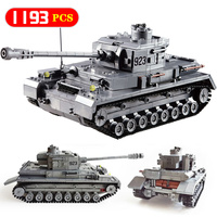 Military City Police 923 PZKPFW IV War Tank Building Blocks Compatible Technic Army Ww2 Germany Soldiers Bricks Toys for Kids