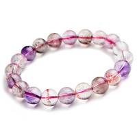 10mm Genuine Natural Colorful Rutilated Quartz Super Seven 7 Melody Stone Crystal Round Beads Stretch Charm