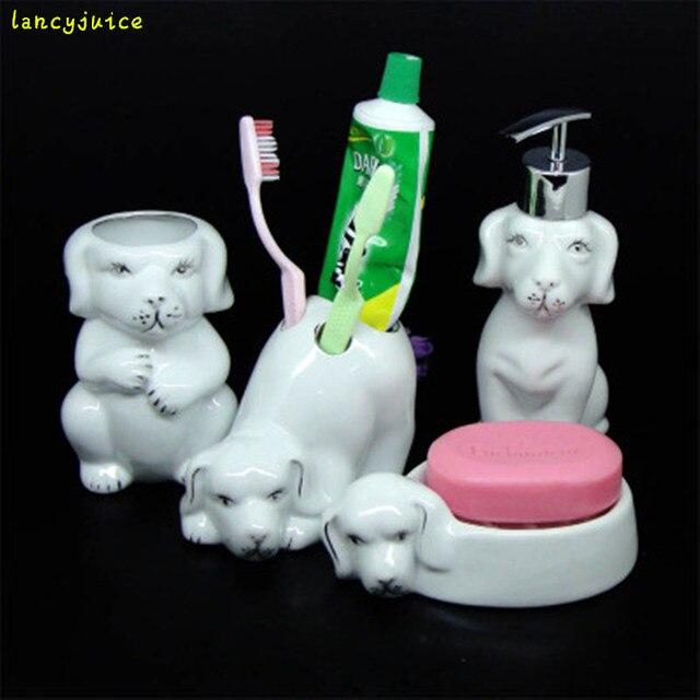 Ceramic Dog Bathroom Set Animal Shape Using Lotion Bottle Soap Holder