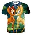 Fashion Harajuku men/women 3D t-shirt print cartoon Bambi deer short sleeve funny couple tee shirt summer casual tops clothes