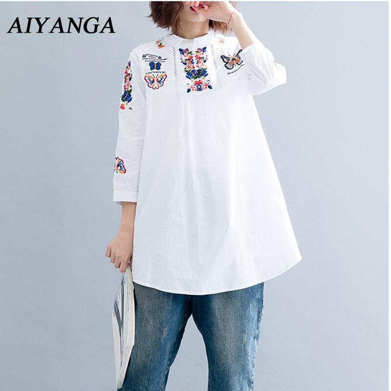 M-5XL Новый хлопок белье Вышивка Белые блузы для женщин; Большие размеры свободные дамы средней длины Рубашки для мальчиков 2018 весенние с длин...
