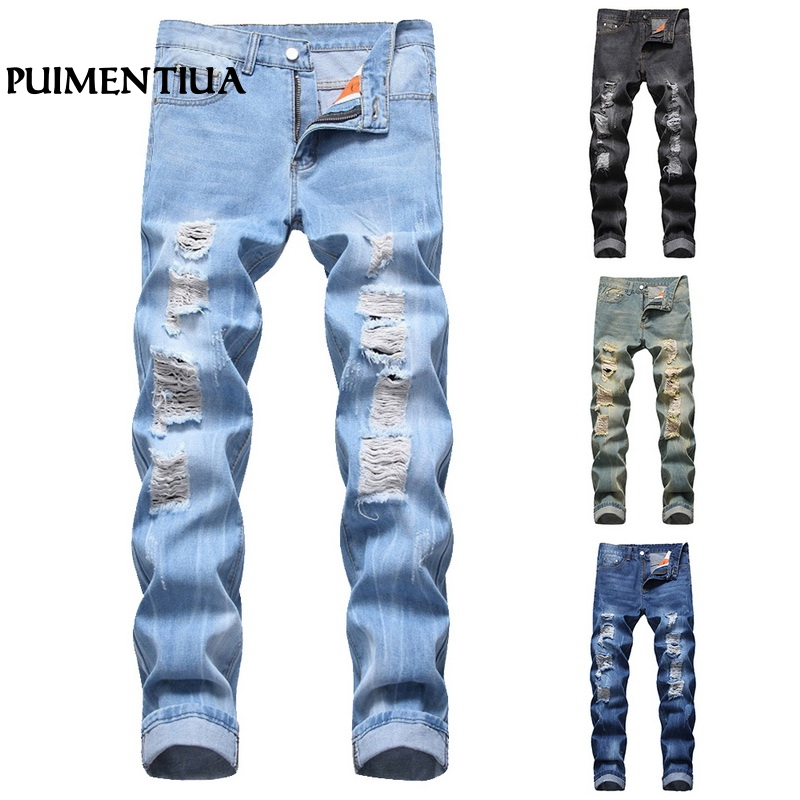 LOOZYKIT 2019 Mens Straight Jeans Distressed Retro Denim Biker Skinny Ripped Slim Fit Denim Jeans Hole Pocket Fashion Trousers