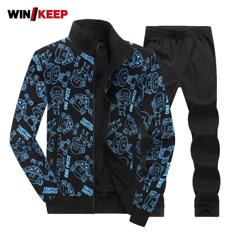Men Sport Suit Autumn Winter Large Size 6XL 7XL 8XL Warm Knitted Tracksuits Printing Design Male Fitness Jogging Running Sets
