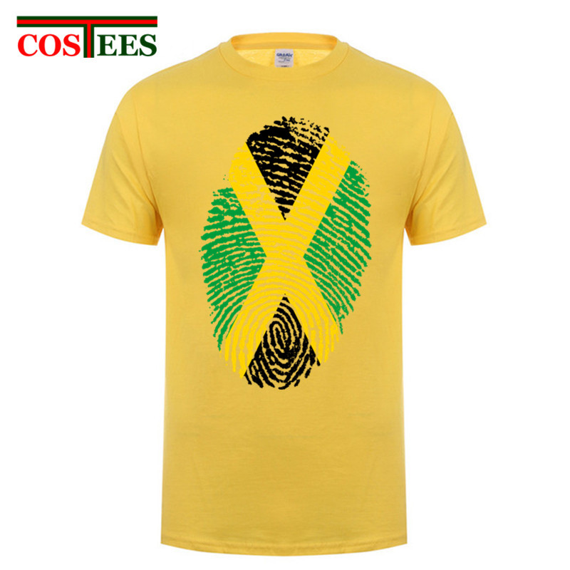 La jamaïque Drapeau D'empreintes Digitales Conception de Chemise Hommes Homme Personnalisé Tee Court manches Grande Taille Équipe Jamaïque journée nationale t-shirt d'anniversaire cadeau