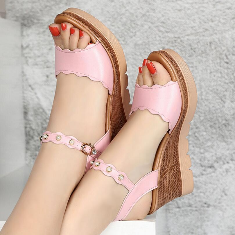 {D&Henlu} Plus Size43 Shoes Women Heels Shoes Summer 2018 White Sandals Wedges Summer For Women's Shoes Pearl sandalia feminina цена