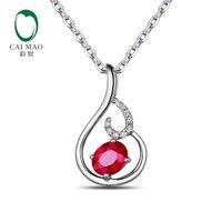 CaiMao 14KT/585 Ouro Branco 0.054ct 0.69ct Natural Vermelho Rubi Rodada Cut Diamond Engagement Pingente Pedra Preciosa Jóia