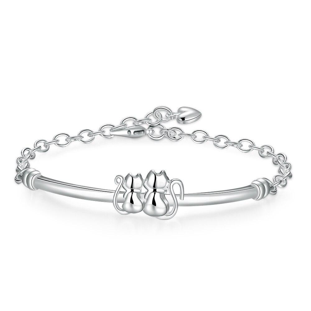 Glass Bracelet Silver Plated Bracelet Animal Cat Bracelet ...