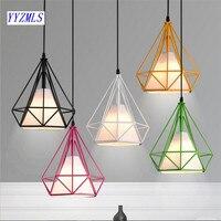 6 Color Modern Black Birdcage Pendant Lights Iron Minimalist Scandinavian Loft Pyramid Lamp Metal Cage