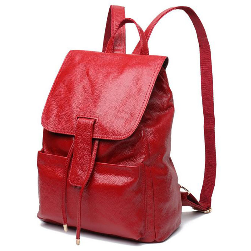 New Fashion Genuine Leather Bag Womens Backpack Brand Luxurious Cow Leather Lady Bakcpacks Shoulder Bags Schoolbag Backpack