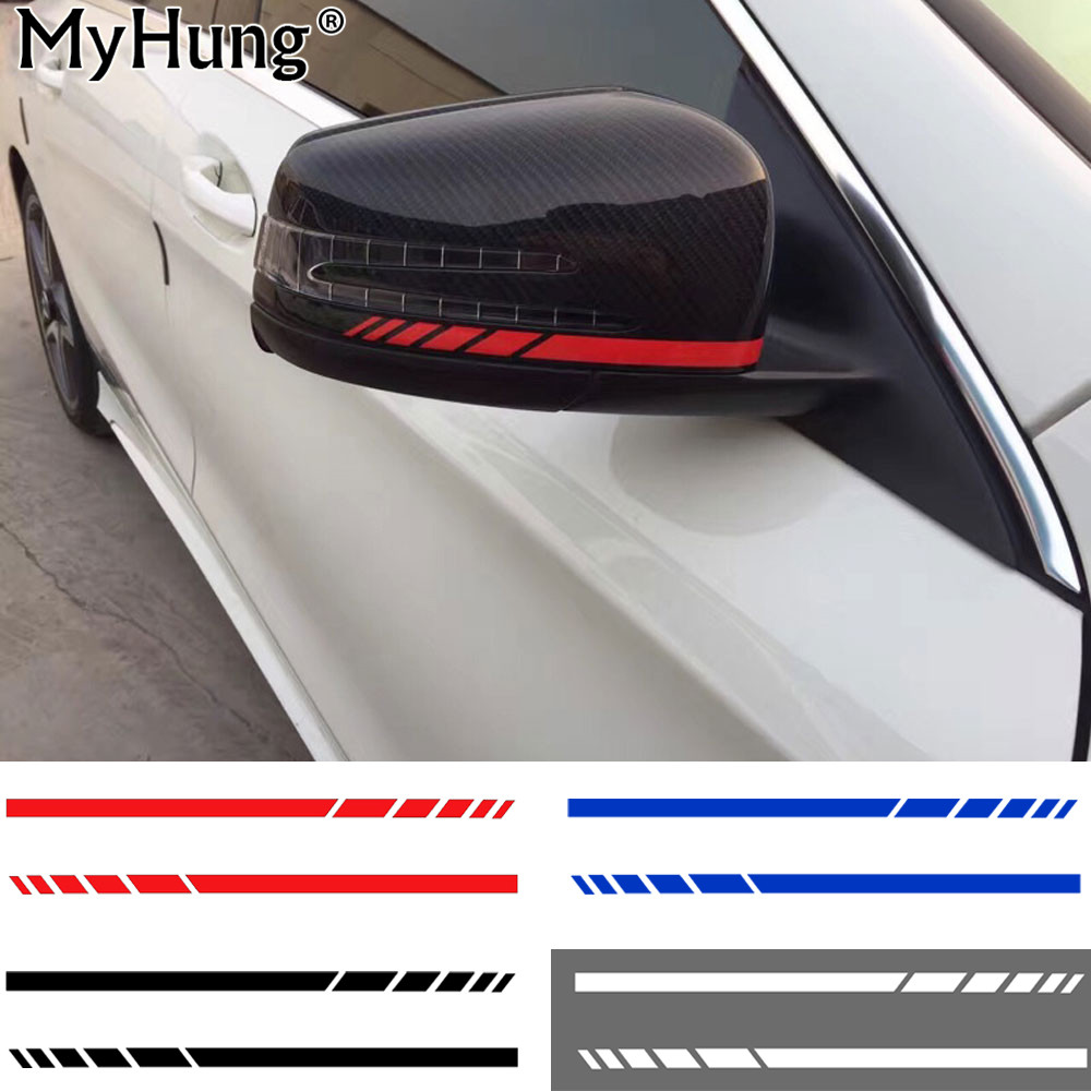 A pair 8 8 side rear view mirror stripes car stickers for Mirror stickers