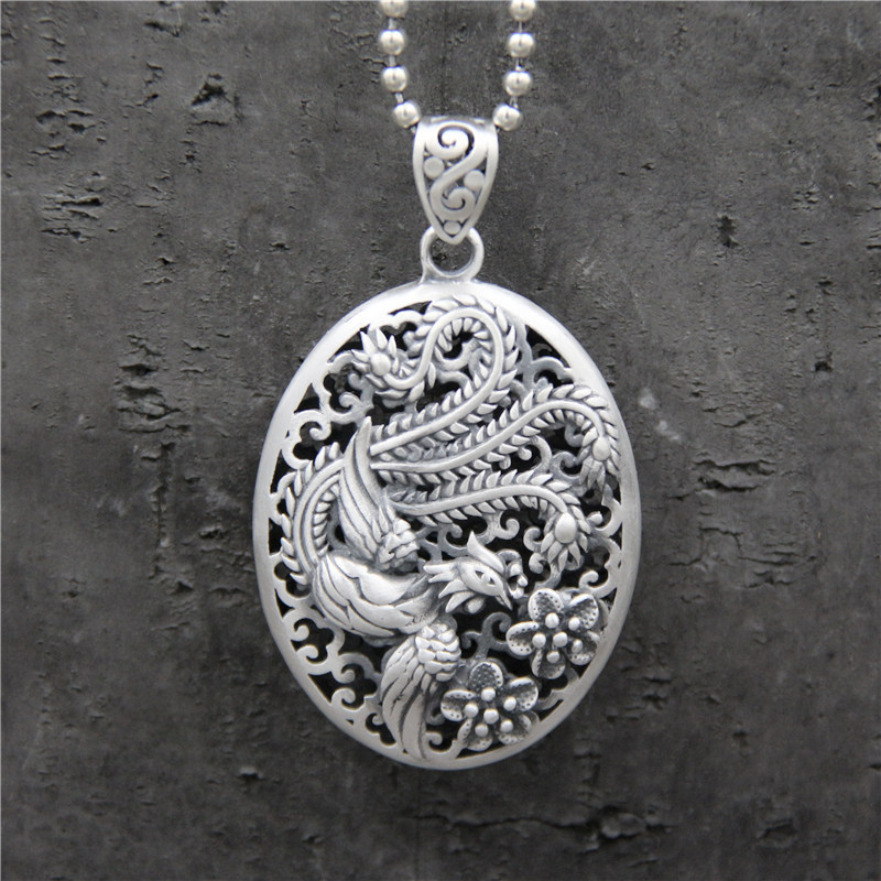 100% Real 925 Sterling Silver Pendant Hollow Phoenix Engraved Retro Vintage Ethnic Amulets And Talismans Accessories vintage retro 100