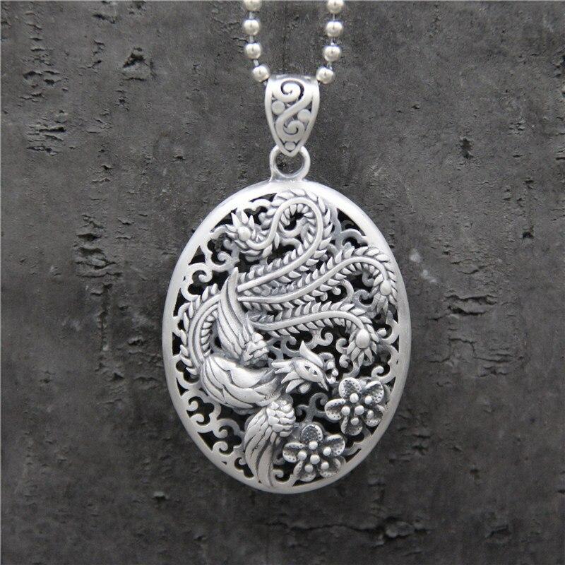 100% réel 925 pendentif en argent Sterling creux Phoenix gravé rétro Vintage ethnique amulettes et accessoires Talismans