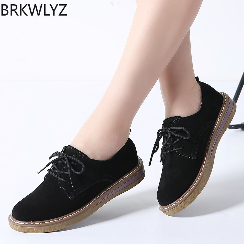 2019 Spring women flats shoes women sneakers   leather     suede   lace up boat shoes round toe flats moccasins oxford for women