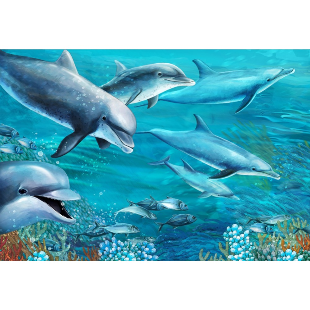 Laeacco Ocean Animal Sharks Dolphin Portrait Scene Photography Backgrounds Wall Baby Newborn Photographic Studio Photo Backdrops