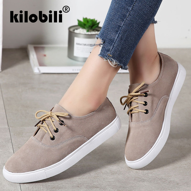 ecbd627fbb5 kilobili 2018 Autumn Women Sneakers Shoes Flats Shoes Women Leather Suede Lace  Up Boat Shoes Round Toe Female Flats Moccasins
