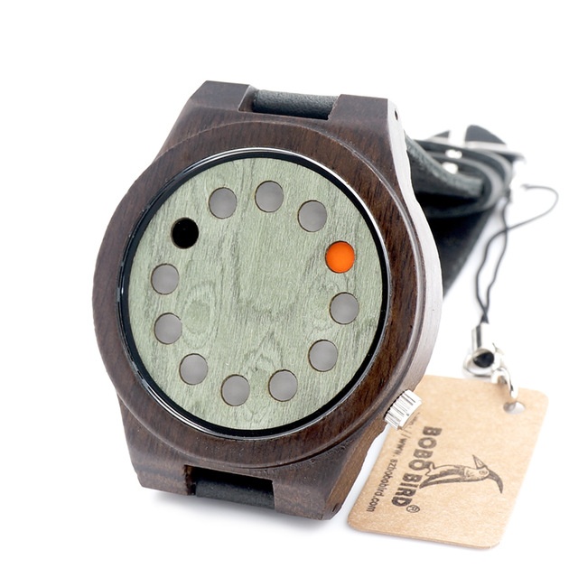 BOBO BIRD 2016 Unique Green Wood Watch 12 Wholes Real Leather Band Bamboo Wooden Quartz Watch