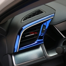 Нержавеющая сталь центральный тире Кондиционер AC Вентиляционное управление рамка крышки наклейки для Honda Civic аксессуары для интерьера