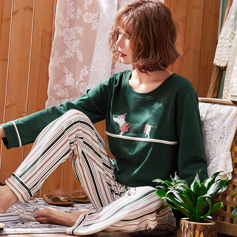 2018 New Autumn Pure Cotton Women Pajamas Long Sleeve Wide legged Pants Home Clothes Nightgowns Sleep Lounge 3XL Plus Size