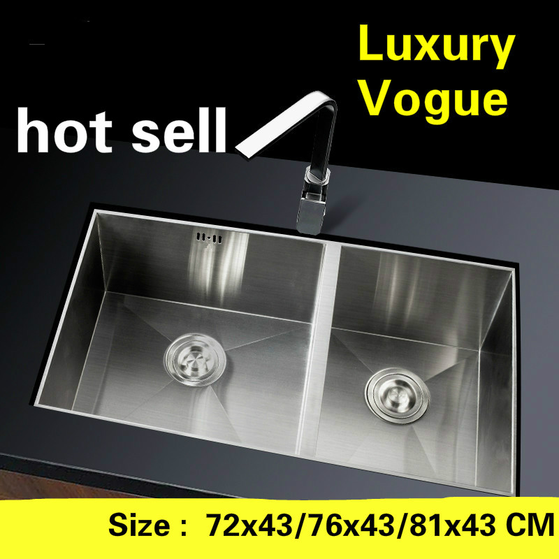 Free shipping Individuality ordinary kitchen manual sink double groove food-grade stainless steel hot sell  72x43/76x43/81x43 CMFree shipping Individuality ordinary kitchen manual sink double groove food-grade stainless steel hot sell  72x43/76x43/81x43 CM