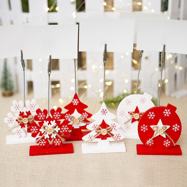 Us 1 01 16 Off Christmas Table Decoration Wooden Business Card Holder Photo Folder New Year For House Decorations Party Diy Decoration In Party Diy
