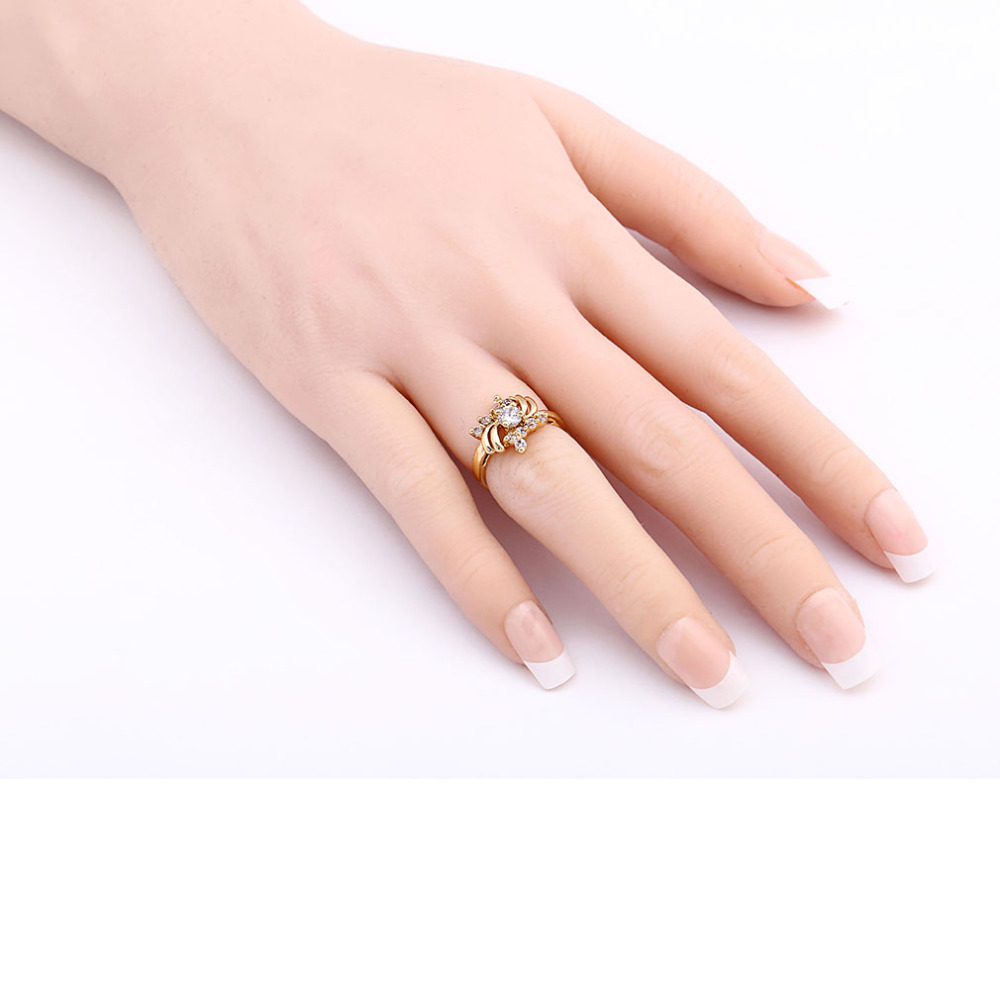 New Personality Luxury Flower Zircon Ring Micro Setting Crystal ...