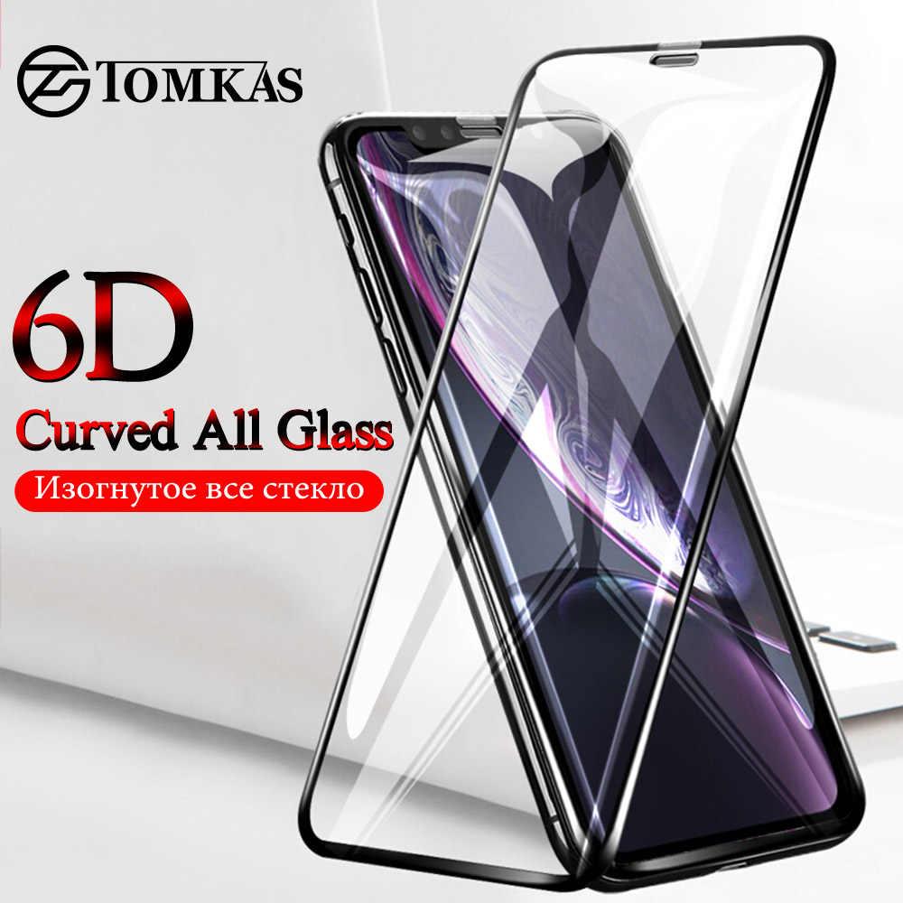 TOMKAS Iphone XS Iphone X Xs 最大 XR スクリーンプロテクター 6D 保護ガラス iphone 6 S 7 8 プラス