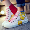 Cartoon Personalized Hand-painted Canvas Shoes Woman 2016 Girl Cartoon Flat Low Graffiti Casual Shoes Comfortable Anime Figure