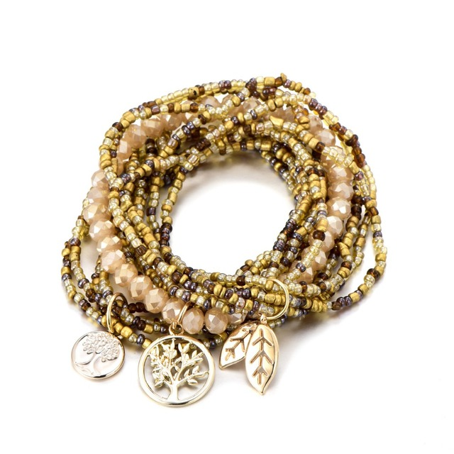 Bohemian Style Life of Tree Leave Charm Beads Bracelets For Women 4